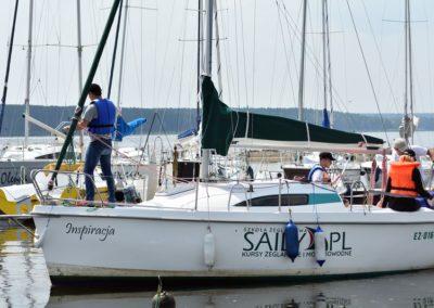 Szkoła żeglarstwa Zalew Sulejowski - manewry portowe - wyjście