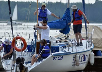 Szkoła żeglarstwa Zalew Sulejowski omówienie manewru wyjścia